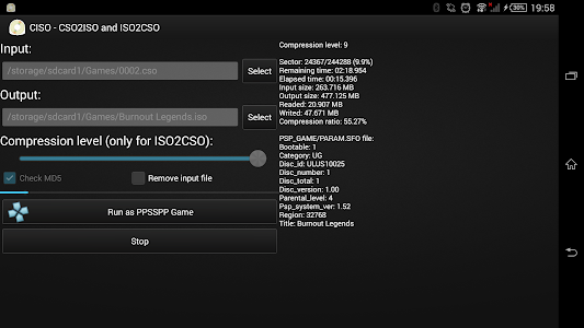 screenshot of CISO – PSP ISO Compressor version 2.0.1