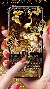 Download Gold Glitter Butterfly Keyboard 10001004 APK
