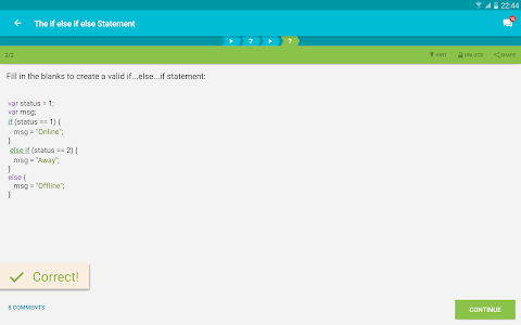 screenshot of Learn JavaScript version 5.8