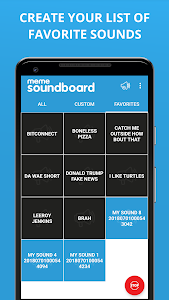 screenshot of ZomboDroid's Meme Soundboard version 5.015