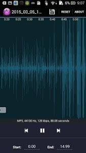 screenshot of MP3 cutter version 2.8.27