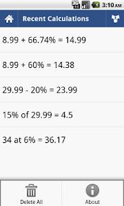 screenshot of Percent Calculator version 2.2