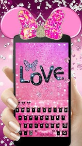 screenshot of Pink Cute Minny Bowknot Keyboard Theme version 10001016