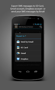 screenshot of SMS Backup & Restore version 3.8.4