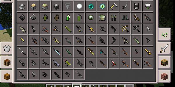 screenshot of Weapons Minecraft mod version 1.0.0